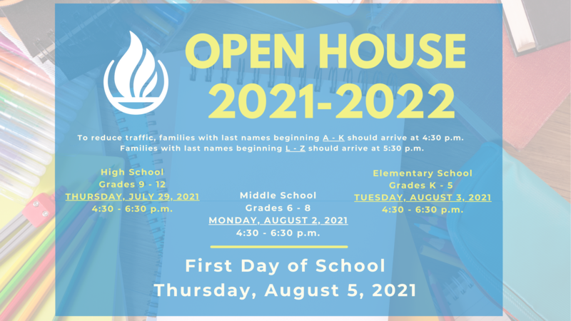 Open House for the 2021-22 School Year Featured Photo
