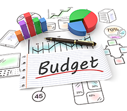 graphic of budget with pen, graphs and charts