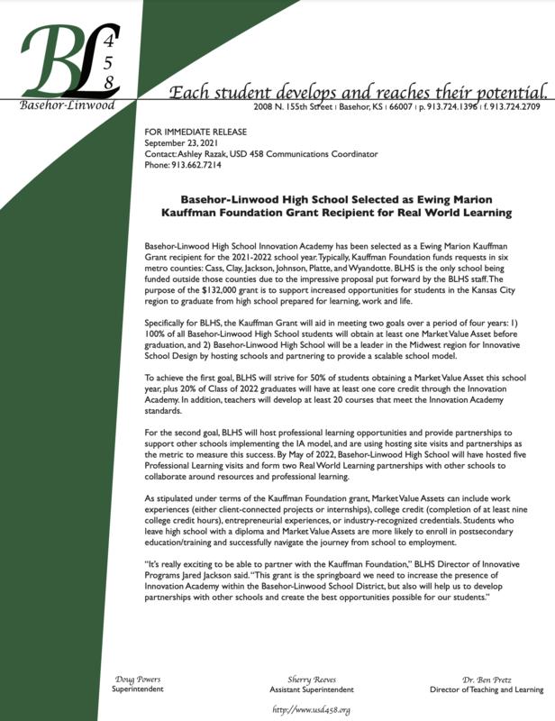 Kauffman press release