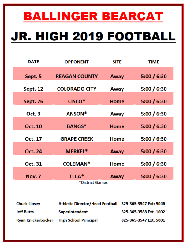Junior High Football Schedule 2019