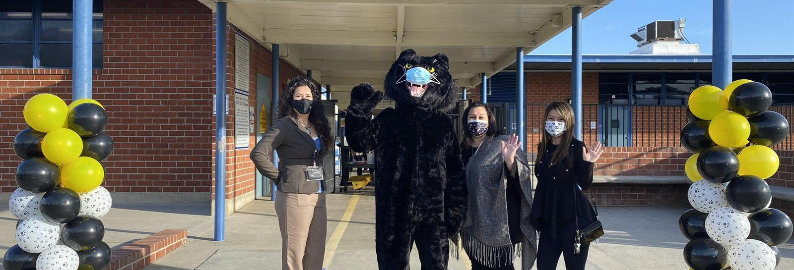 Welcome Back Panthers!! They were greeted by two very special guests. Board Member Mrs. González and Mr. Panther himself. The first graders showed off their squishy that helps them feel safe. #connectionbeforecontent #proud2bePUSD