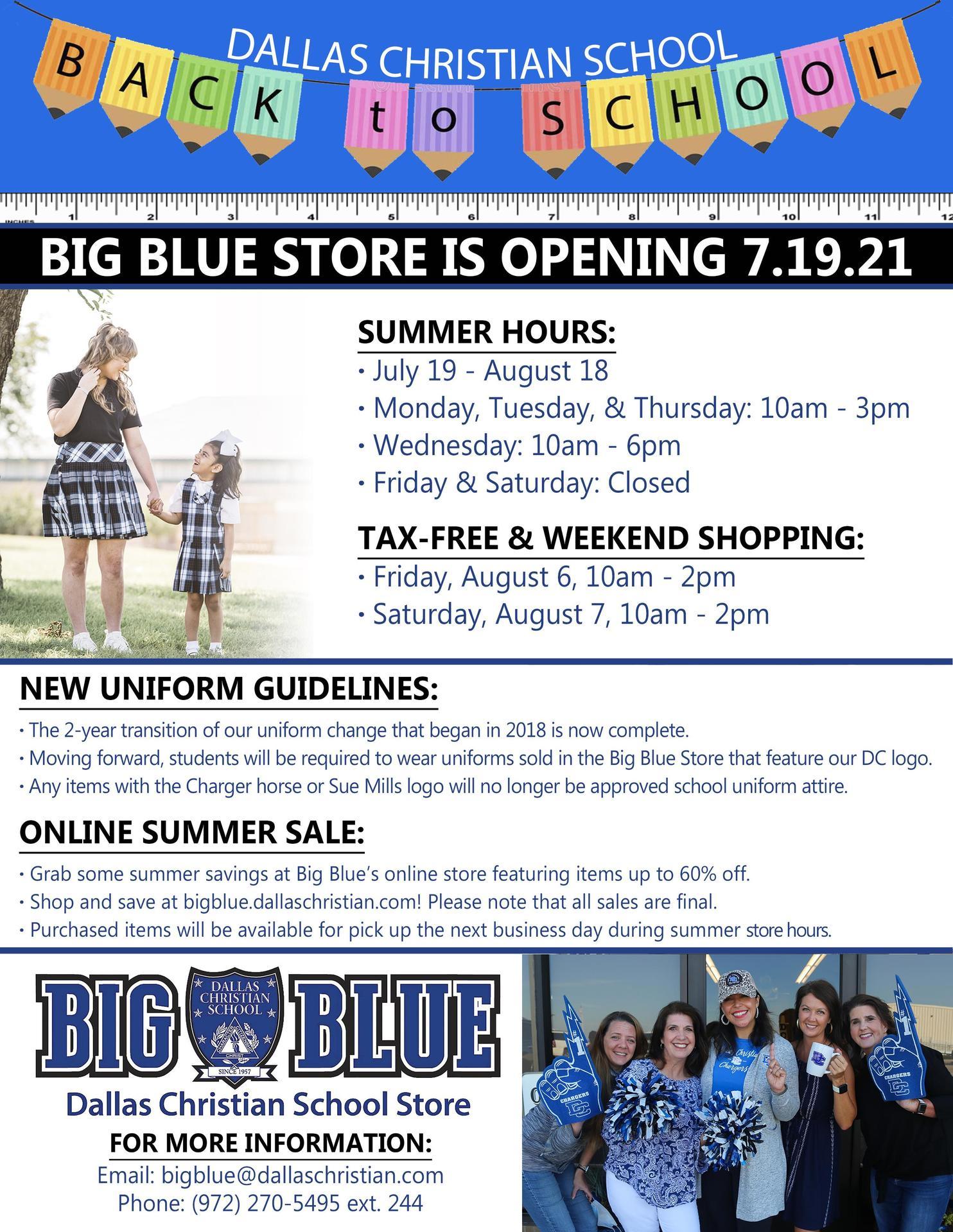 Big Blue Summer Hours