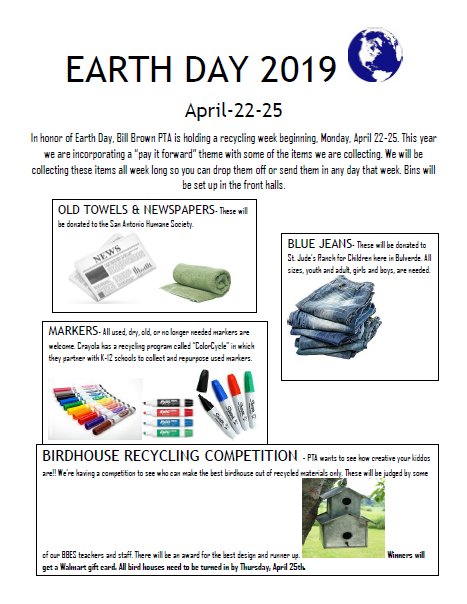Information for Earth Week April 22-25, 2019