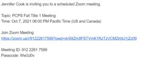 Zoom meeting information
