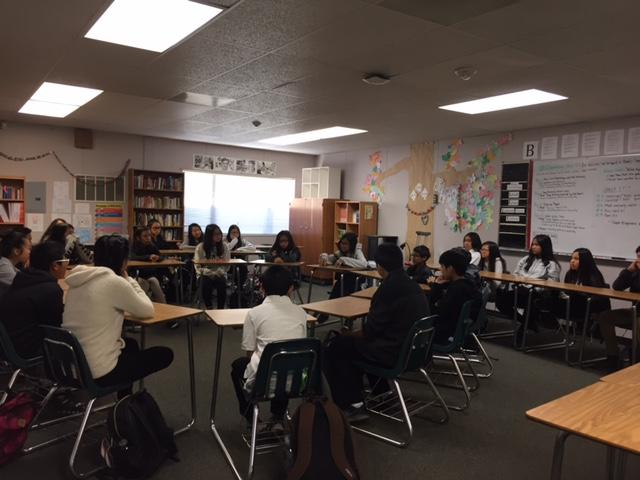 Socratic Seminar in Mr. Holm's 7th grade ELA.