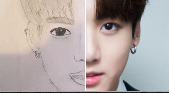 Half -face drawing