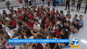 ABC LA went to Tracy Elementary to capture the Baby2Baby and Disney backpack giveaway.