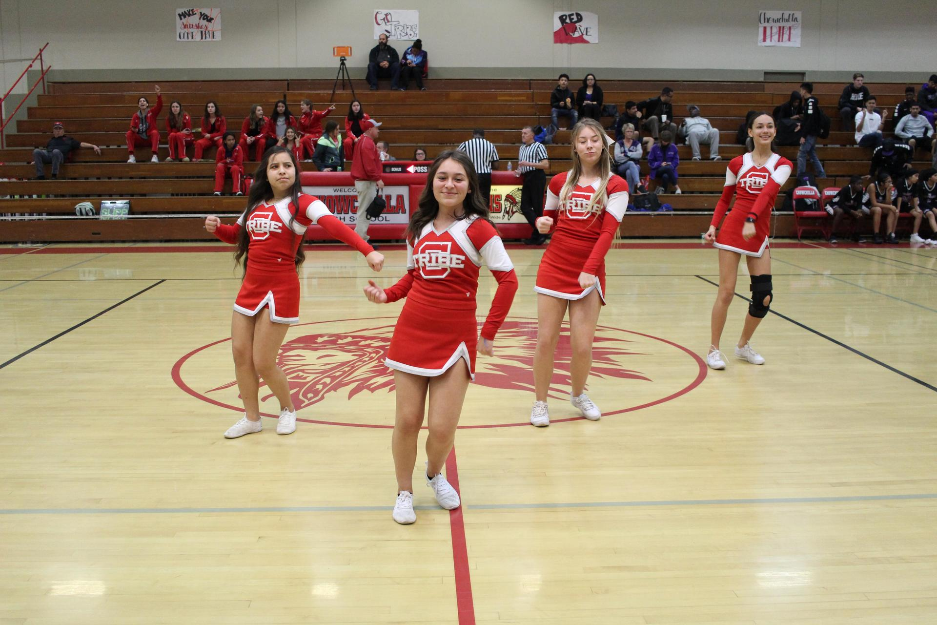JV Cheer performing for crowd