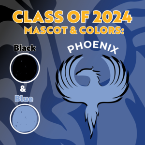 This photo shows the class of 2024 class colors and mascot, blue and black Phoenix