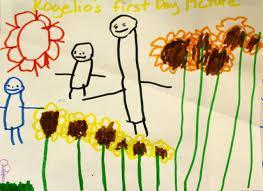 Child's drawing of a family and flower garden