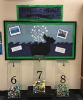 Students are collecting bottle caps and plastic lids for a mural