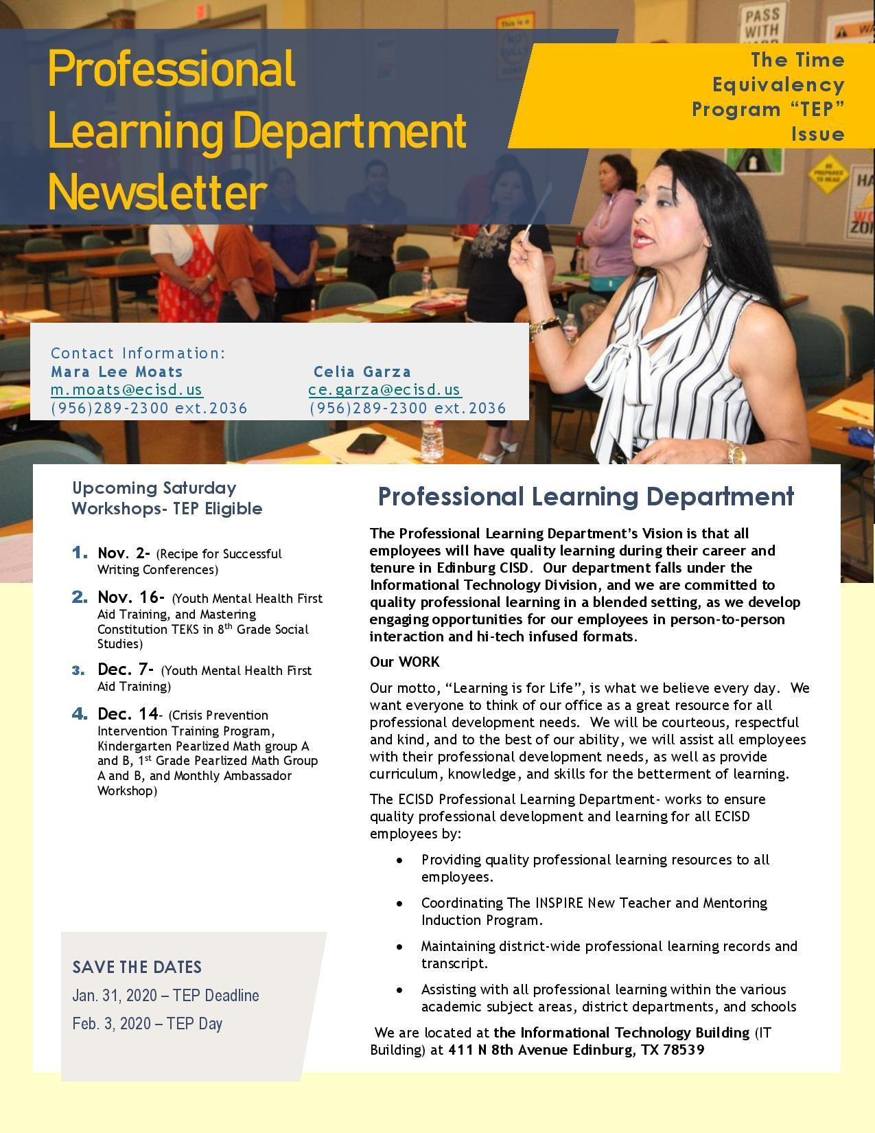 The Time Equivalency Program Newsletter page 1