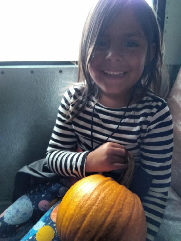 Child smiling and holding a small orange pumpkin
