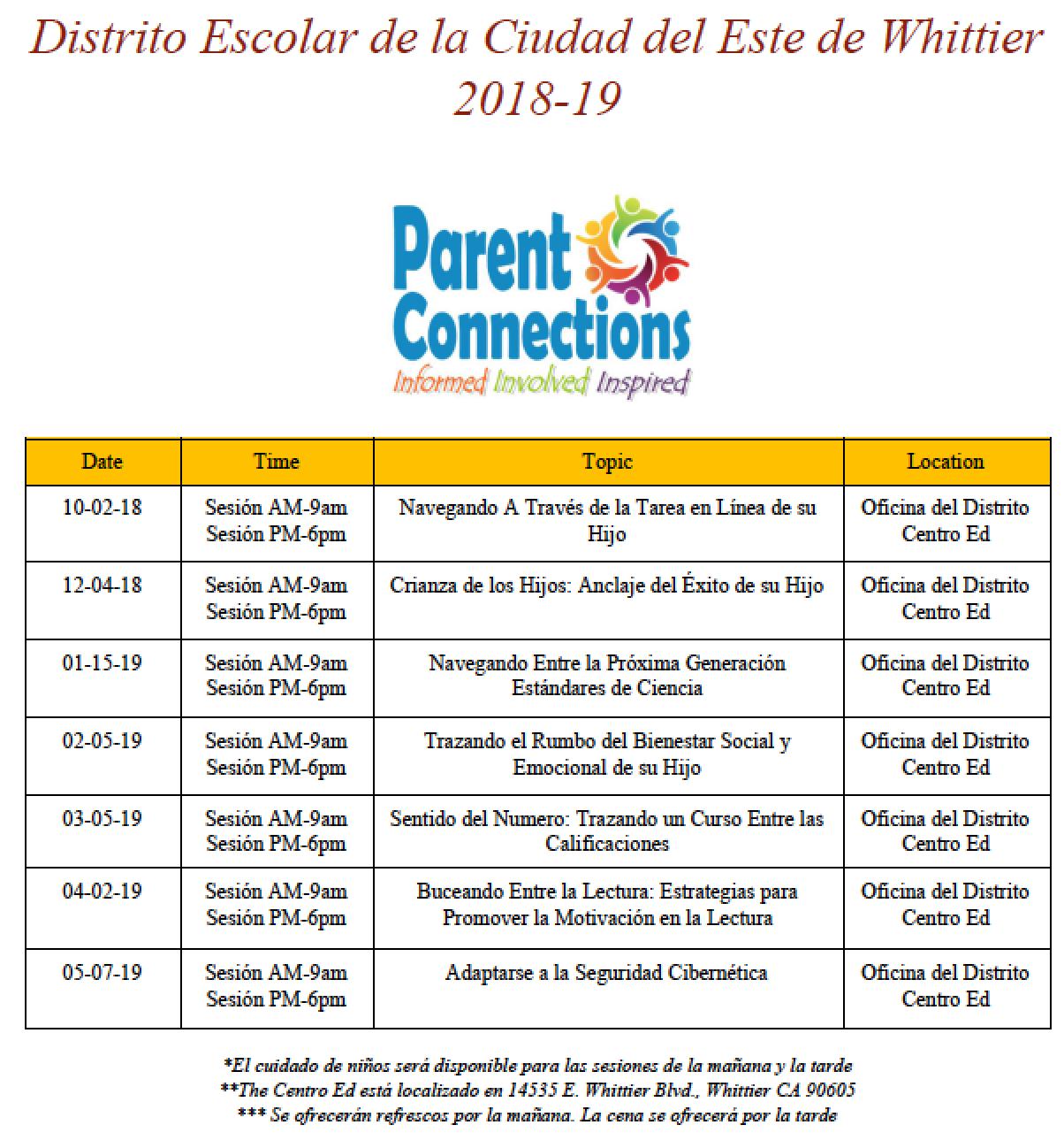 Parent Connection Spanish Workshop Flyer 2018-2019
