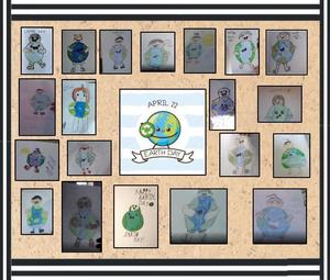Person hugging the Earth drawings from Room 320 collage
