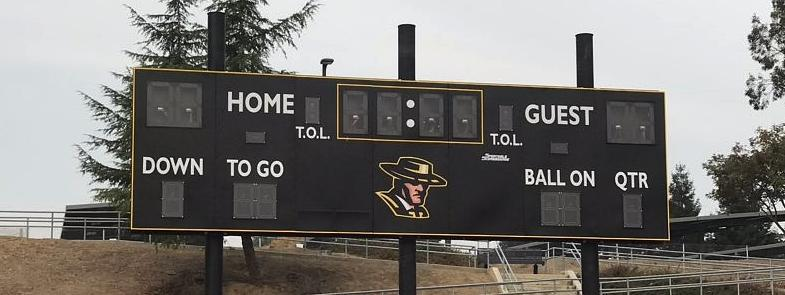 Image of new scoreboard on athletic field