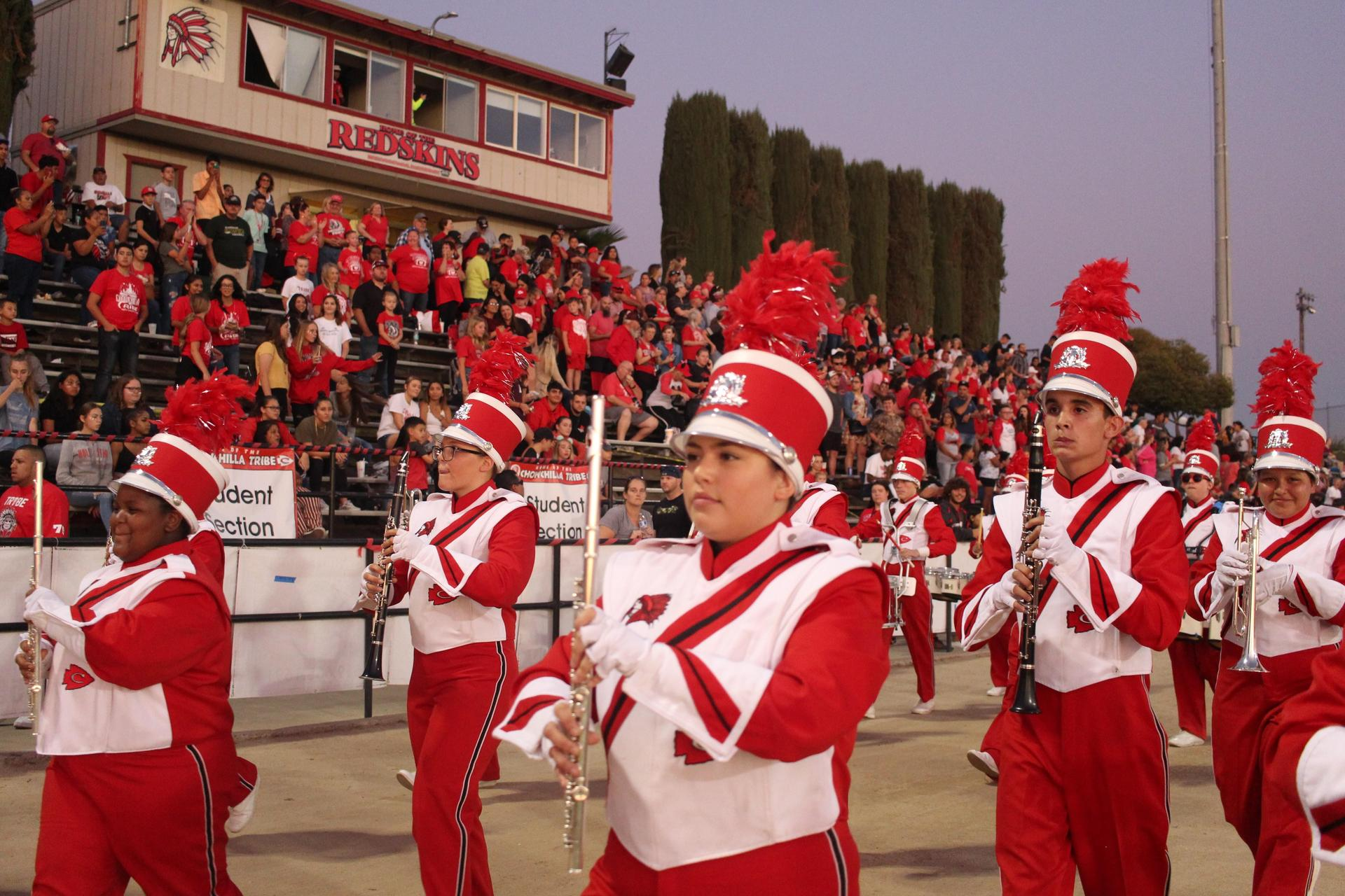 the band entering the stadium