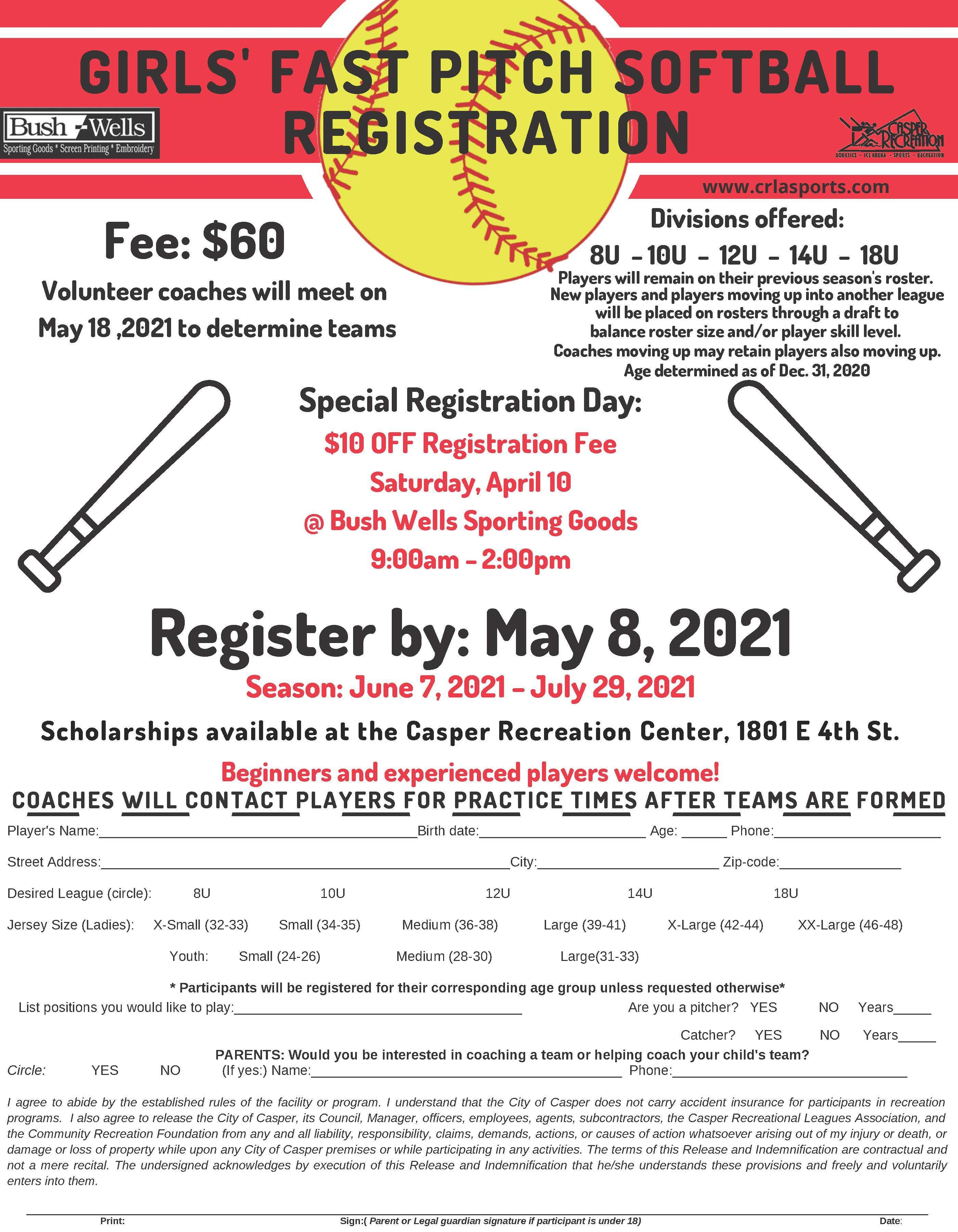 Fast Pitch Softball Registration Flyer