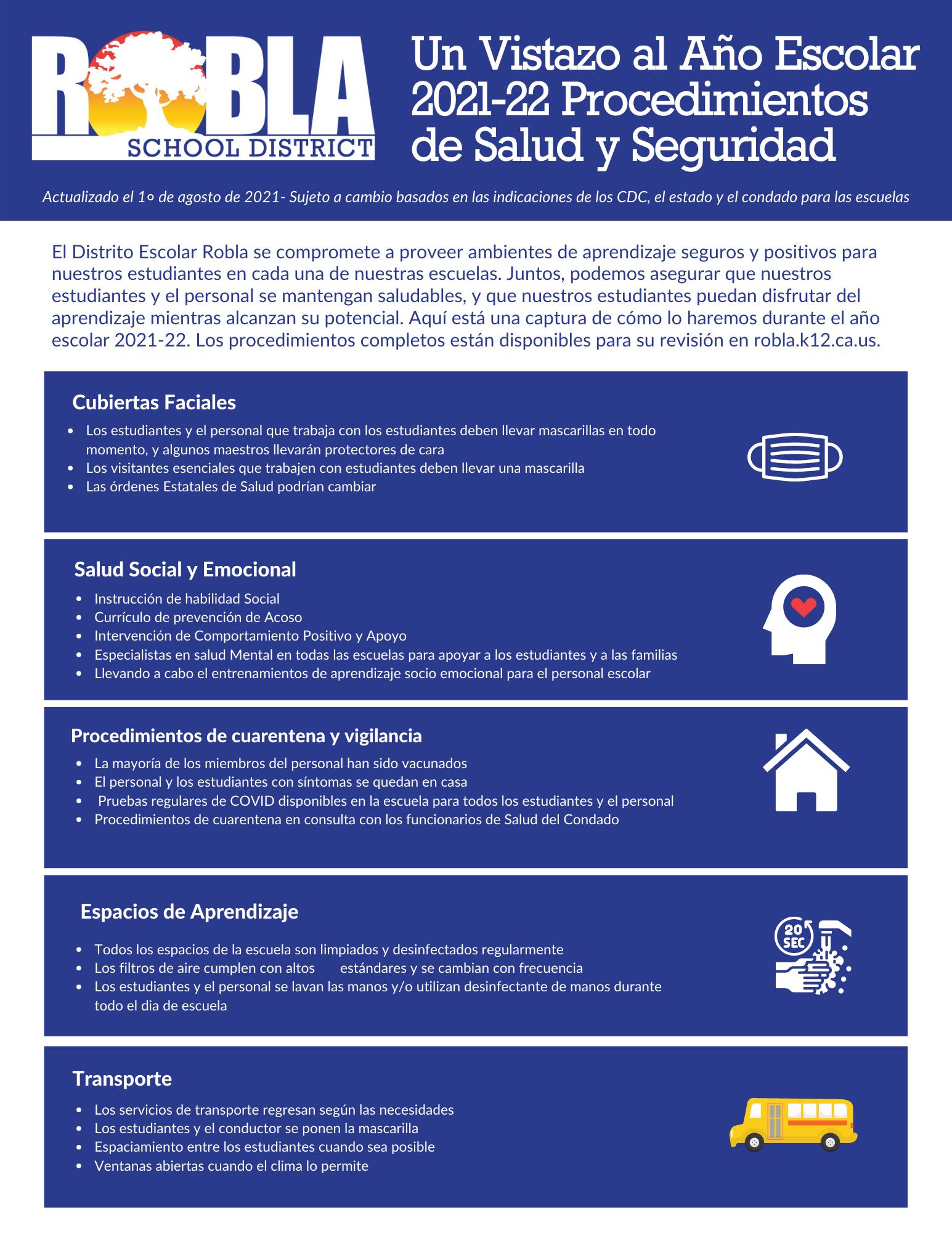 Image of 2021-22 School Year Health & Safety Procedures-Spanish