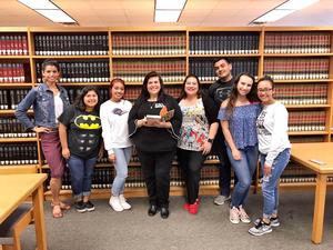 Pictured are MHS students with Guadalupe Garcia McCall, author.