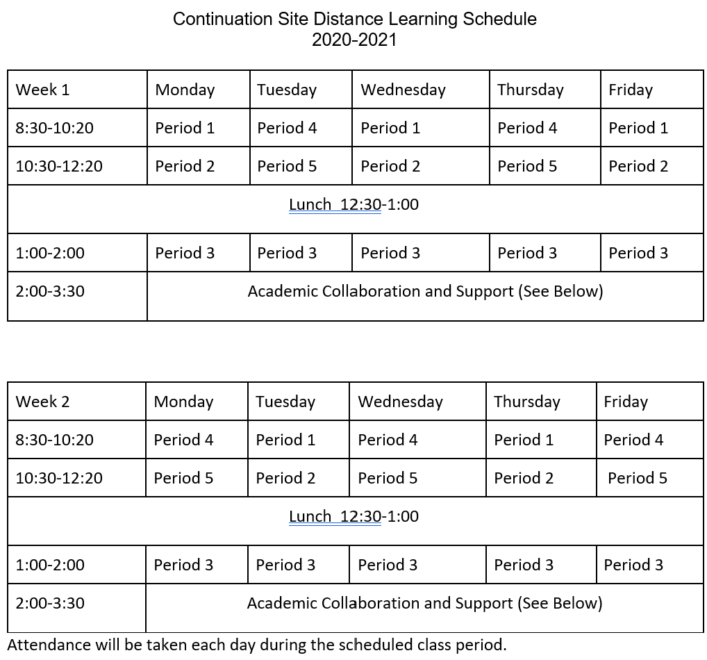 ContinuationDistance Learning Schedule