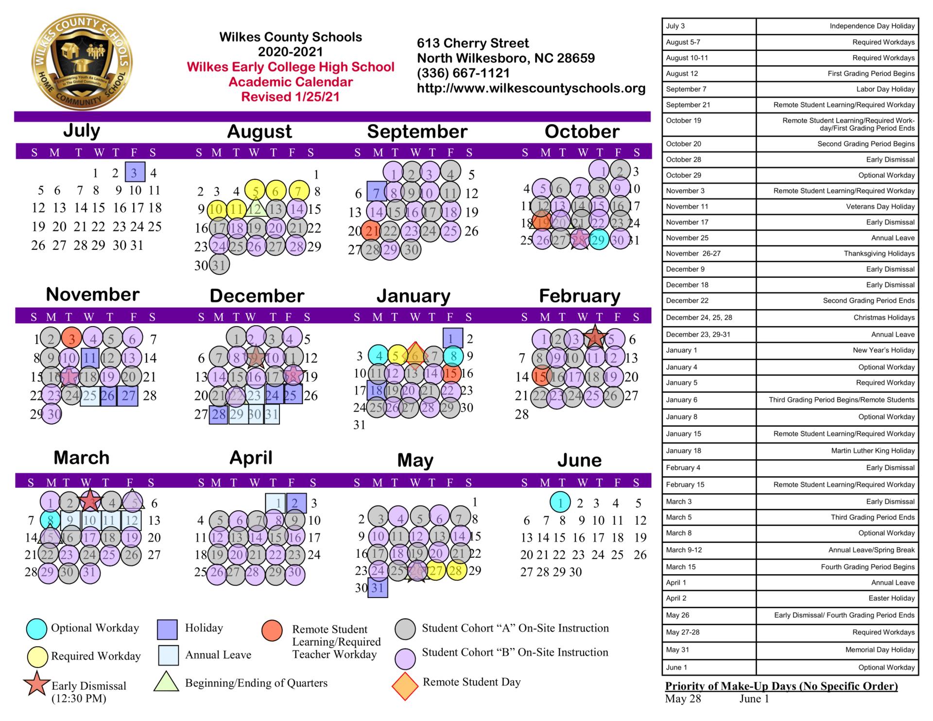 Wcs Calendar 2022.District Calendars District Wilkes County Schools