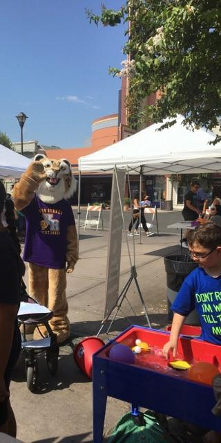 Rocky the mascot at the welcome back festival