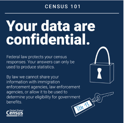 Your data are confidential. Federal law protects your census responses. Your answers can only be used to produce statistics. By law we cannot share your information with immigration enforcement agencies, law enforcement agencies, or allow it to be used to determine your eligibility for government benefits.