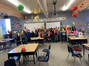 Students created Chinese lanterns.