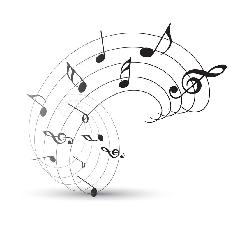 Clip art, music notes and bars in a wave shape