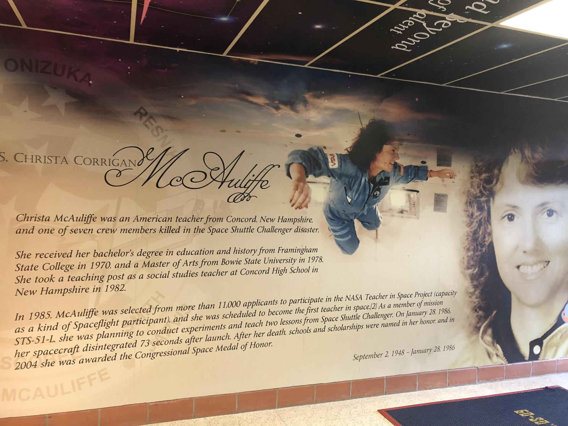 Story of Christa McAuliffe at entrance of school.