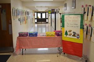 Check-out table at Reading Night.