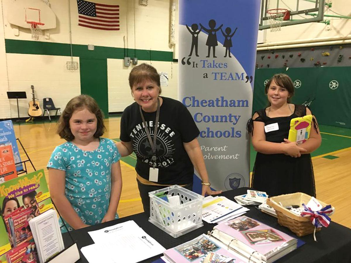 Parent Involvement Coordinator Claudette Fizer at a Parent Engagement Night at East Cheatham Elementary School.