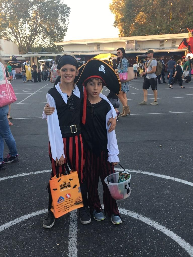two boys dressed as pirates