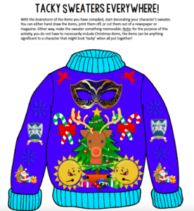 Blue sweater design with carnival mask and Christmas tree