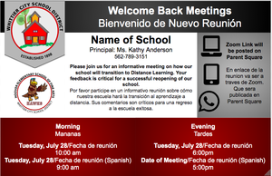 Welcome Back Meeting with the Principal