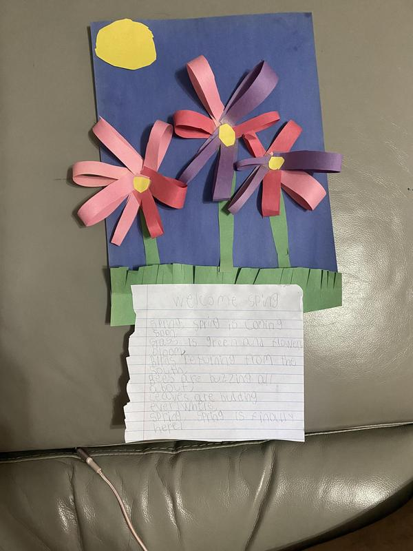 Multicolored construction paper flowers and facts