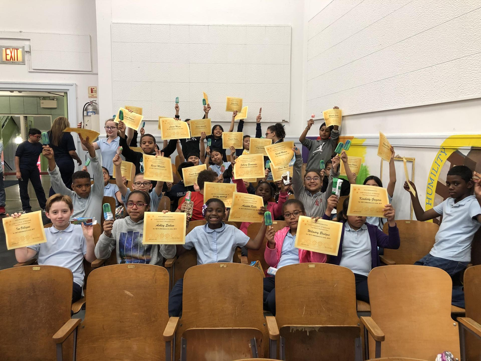 Picture of Students with Perfect Attendance