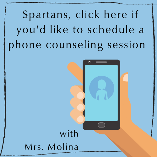 image of phone. 'Spartans click to schedule a  phone confernce with Mrs. Molina