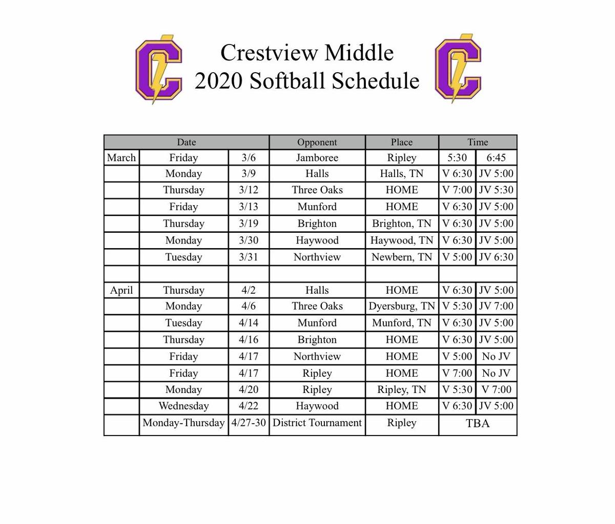 Softball Schedule 2020