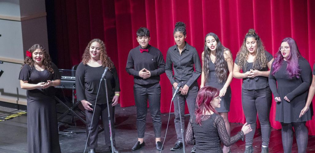 EHS Choir members and director Nadia Monti