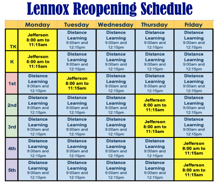 In Person Student Schedule