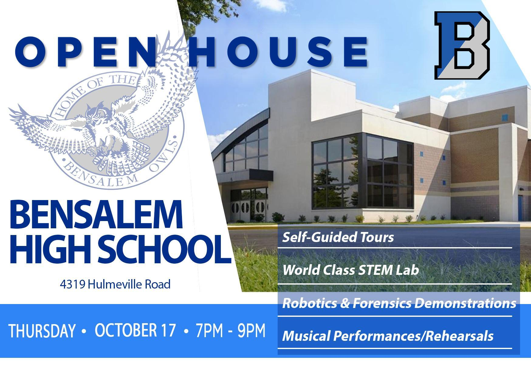 Open House post card with a photo of the owl logo in blue and gray and the front of the school.