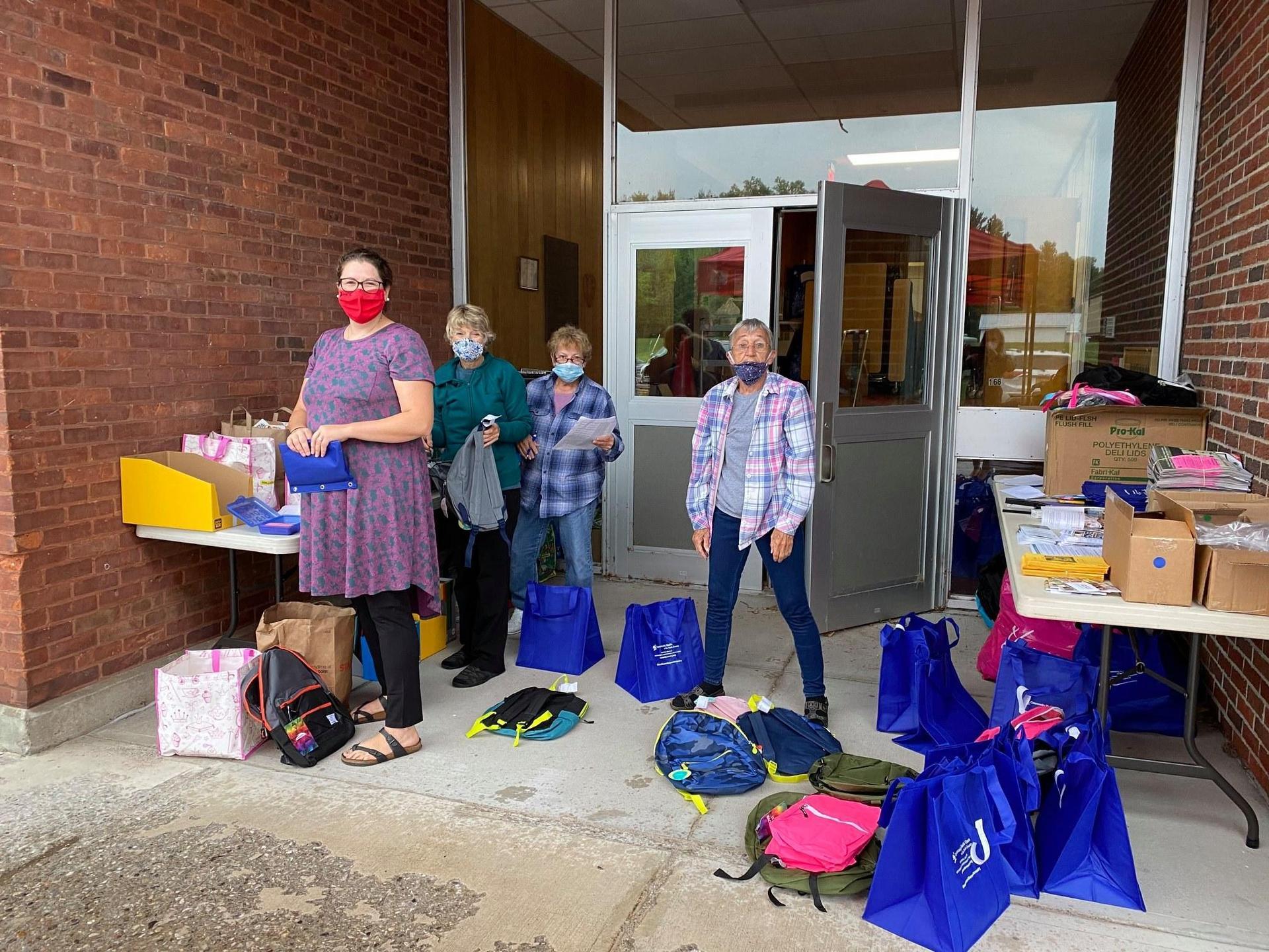 2020 Back-2-School Backpacks being put together by volunteers