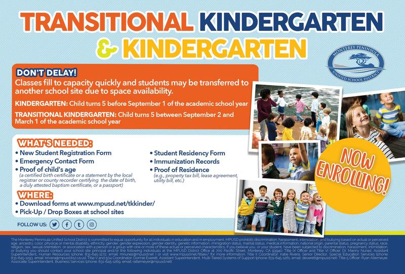 Transitional Kindergarten and Kindergarten direct mail postcard. Information found on www.mpusd.net/tkkinder/ webpage.