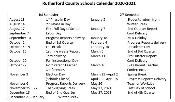 RCS Academic Calendar