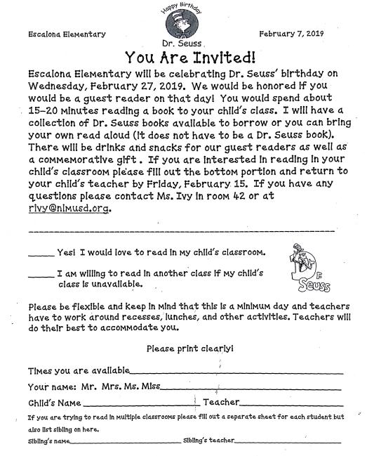 Dr. Seuss' Birthday Reading Volunteers Needed Featured Photo