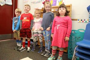 B-L Primary School students (from left to right) Maddox Penick, Capers Gunter, Emily Smith, Carson Dority, and Maddie Hendrix show off their crazy socks as part of the school's Dr. Seuss Week.