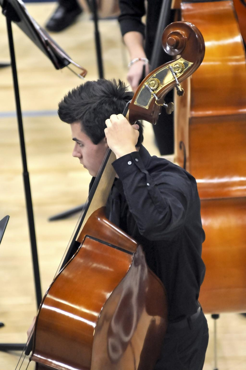Orchestra student playing