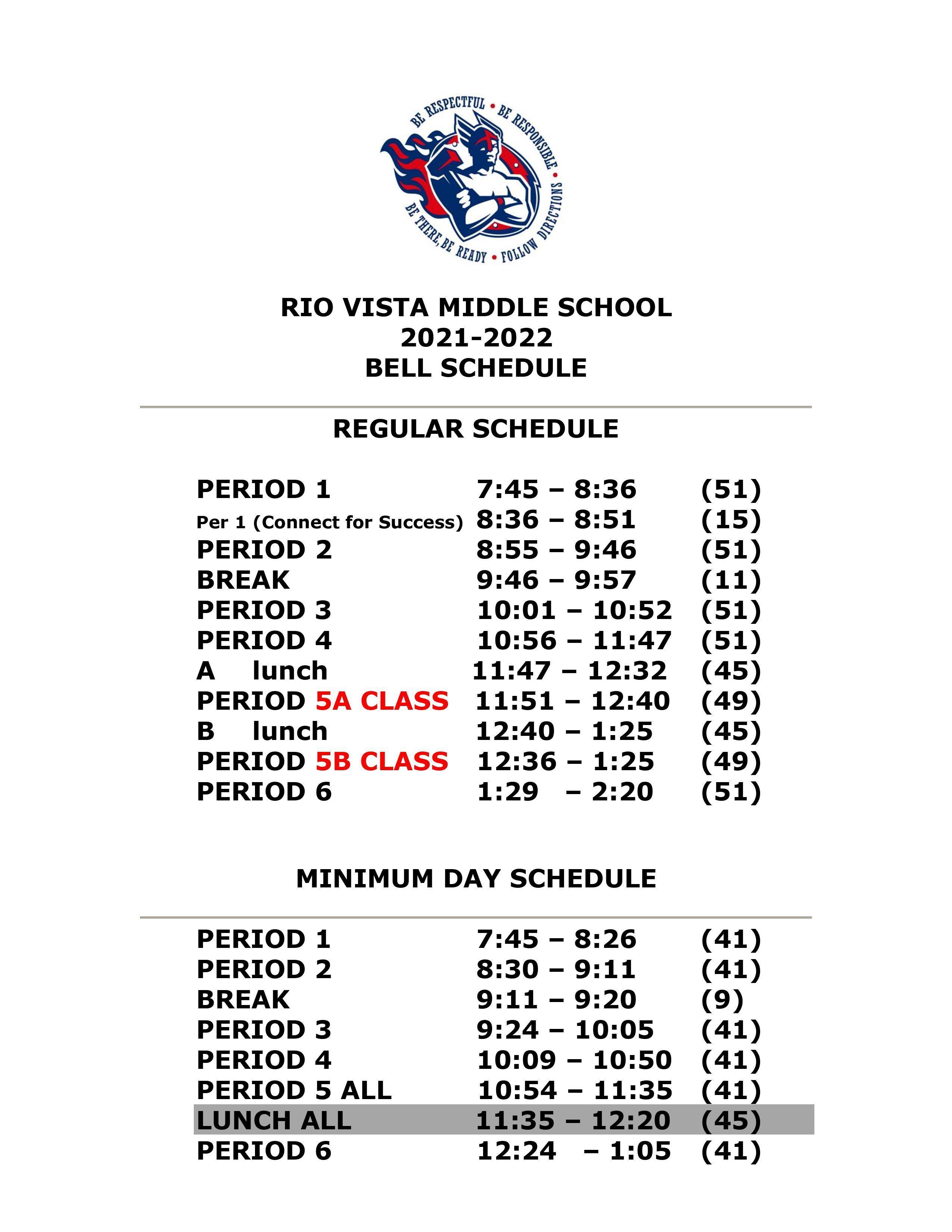 Bell Schedule for 21-22 School Year